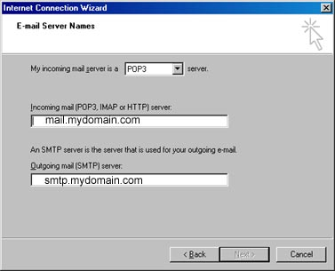 POP and SMTP server settings
