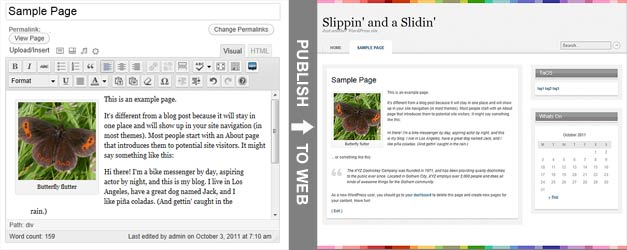 Sample Wordpress Edit Page dialog